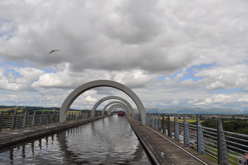 The views from the towpath at the top of the Falkirk Wheel