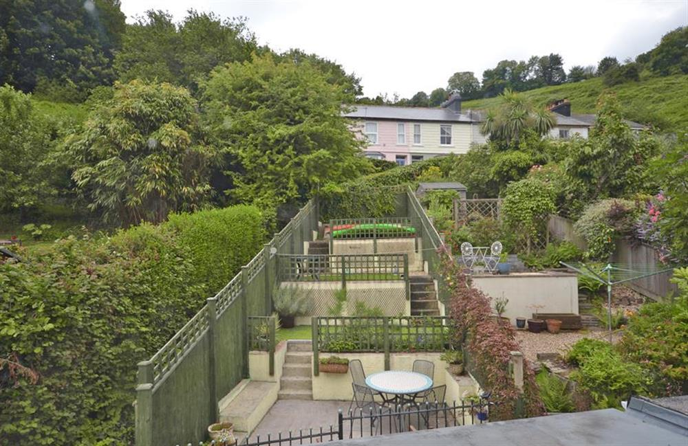 The rear terraced garden at Ferndale, Dartmouth