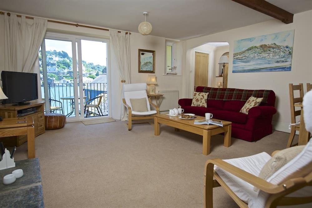 Lounge with access to balcony at Ferry View (Dartmouth) in South Town, Dartmouth