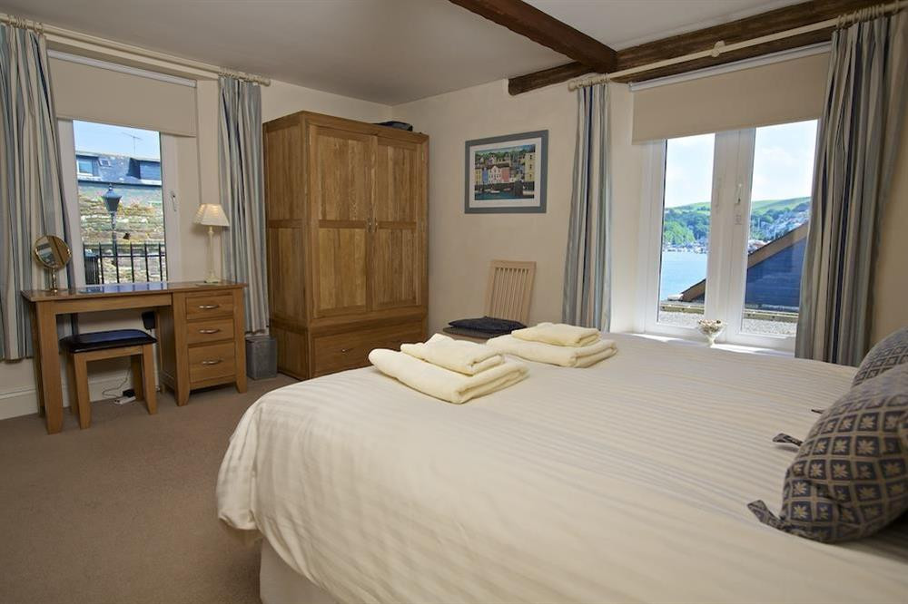 Master bedroom with views over the River Dart at Ferry View (Dartmouth) in South Town, Dartmouth