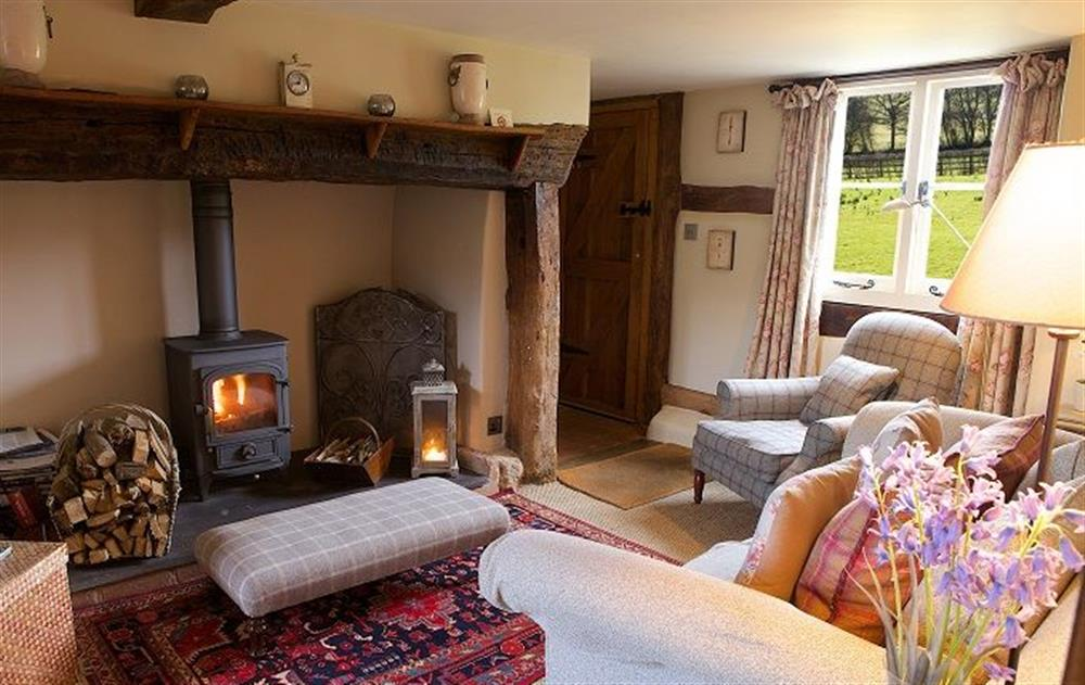 Ground floor: Cosy sitting room with wood burning stove at Field Cottage, Elmley Castle