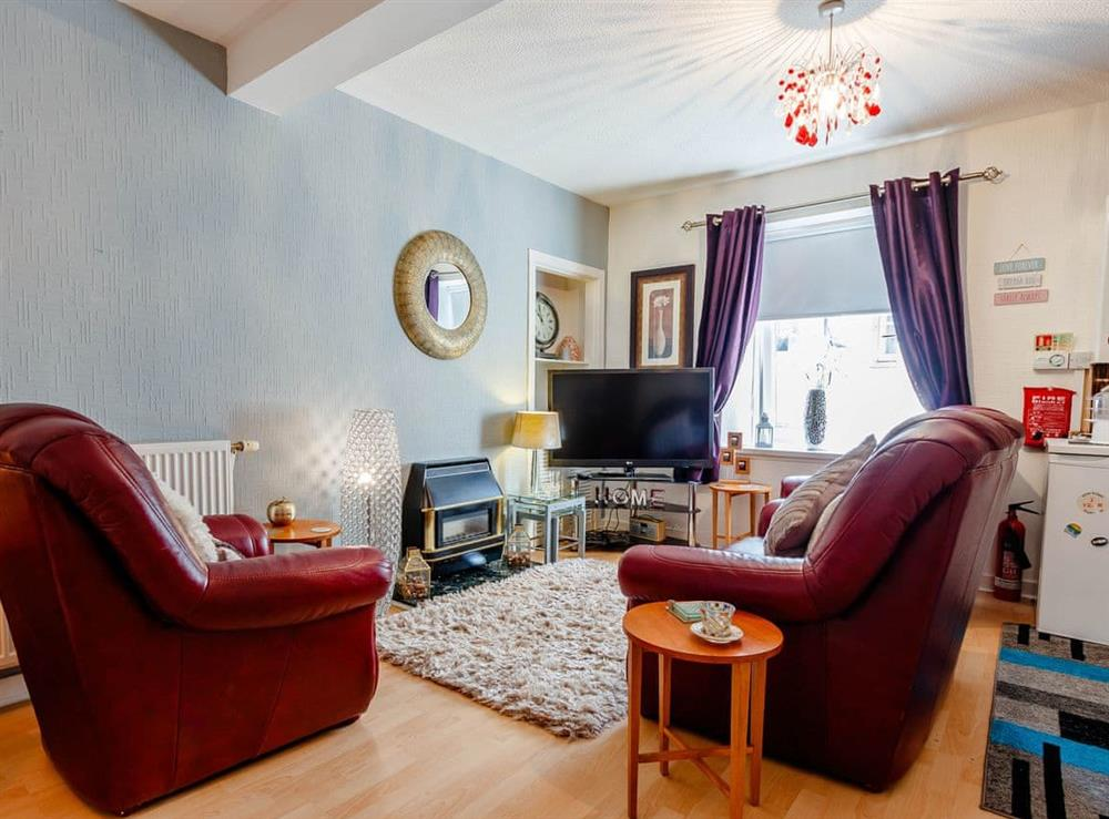 Open plan living space at First Floor Flat in Largs, Ayrshire