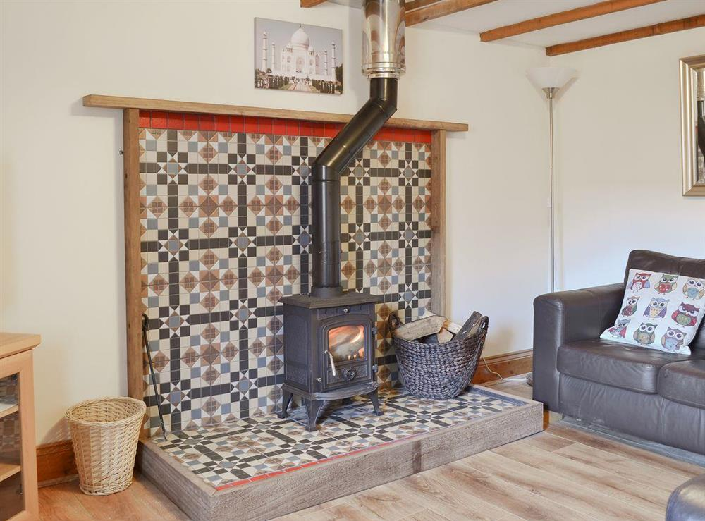 Cosy living room with wood burner at Fitling Cottage in Fitling, near Hull, North Humberside