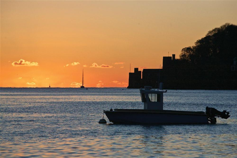 Dartmouth Castle at sunset at Flat 1, 32 Newcomen Road in The Plaice, Dartmouth