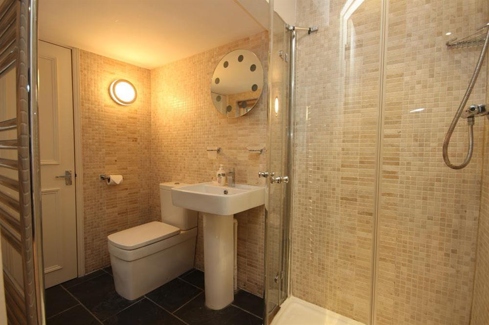 En suite shower room at Flat 1, 32 Newcomen Road in The Plaice, Dartmouth
