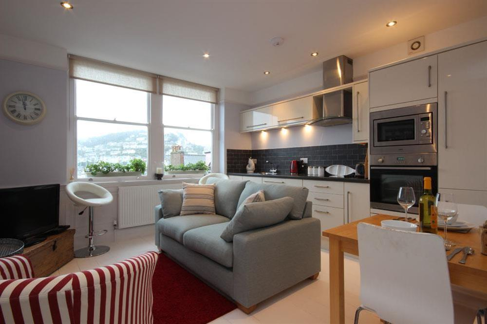 Open plan living area with views towards the River Dart at Flat 1, 32 Newcomen Road in The Plaice, Dartmouth
