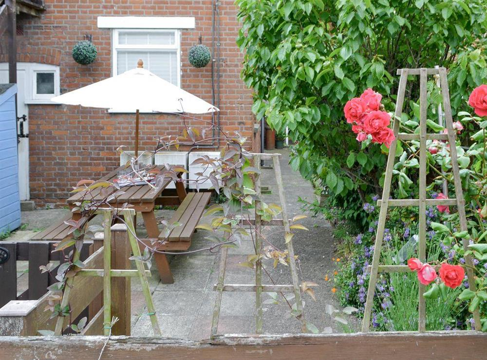 Attractive enclosed courtyard at Flat 1 Chatsworth House in Cromer, Norfolk