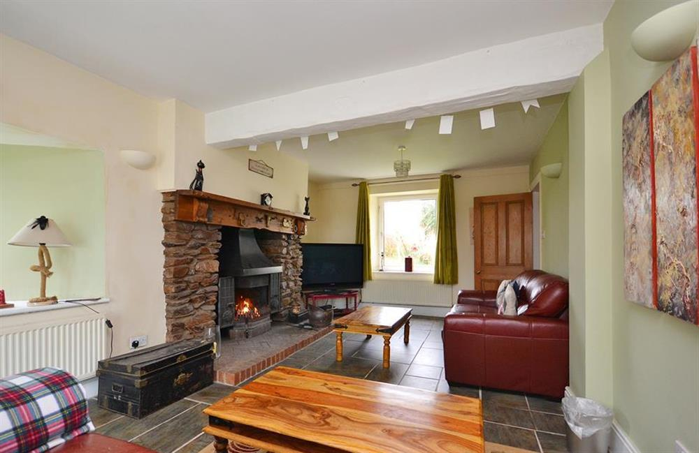 Another view of the lounge with open fire at Foxenhole Farmhouse, Dittisham