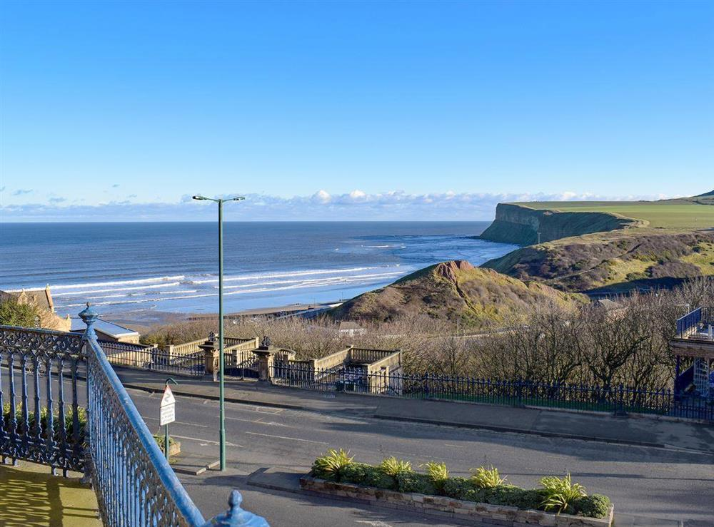 Stunning views looking across the bay of Saltburn to Huntcliff and out to sea at Franks View in Saltburn-by-the-Sea, Yorkshire, Cleveland