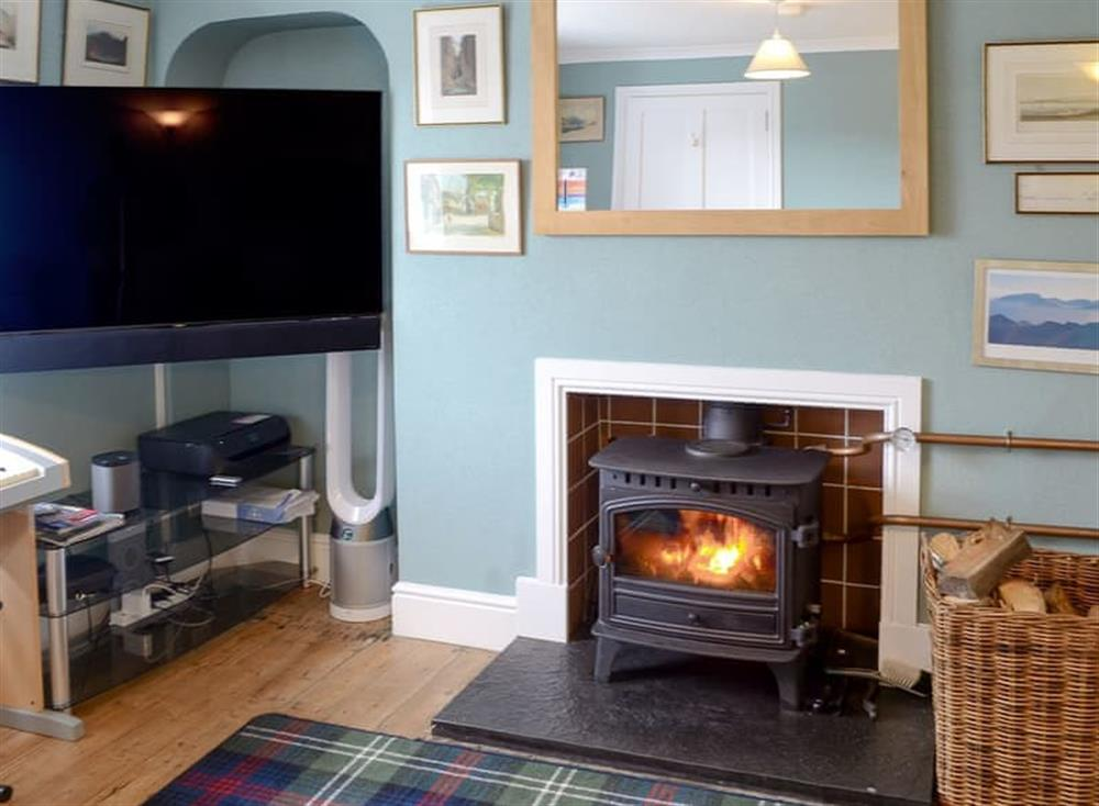 Large wood burner in the living room at Gairs Cottage in Bonar Bridge, near Tain, Ross-Shire