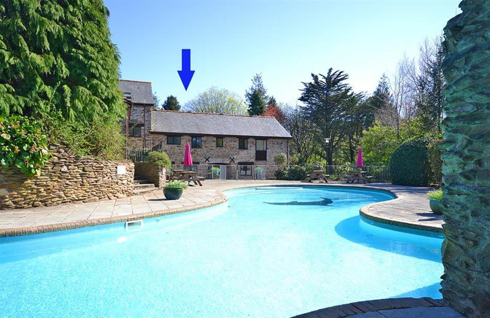 Colmer outdoor swimming pool with Gatehouse East arrowed at Gatehouse East, Modbury