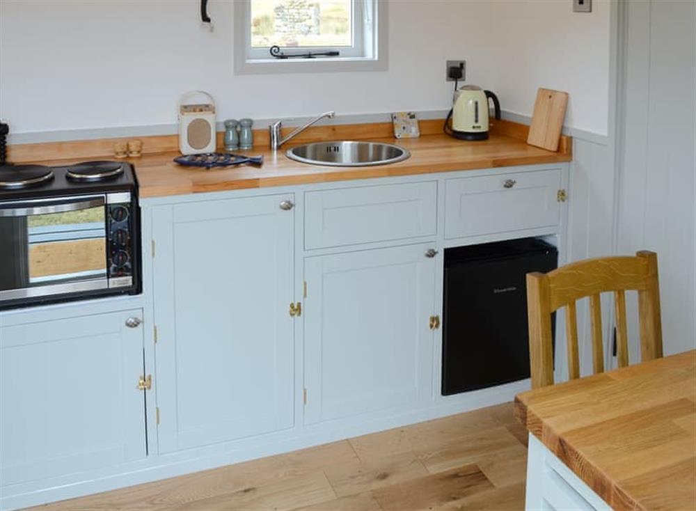 Kitchen area at Ghillies at Riverside in Inchnadamph, near Lochinver, Northern Highlands, Sutherland