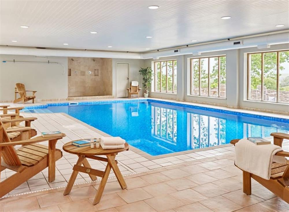 Indoor heated swimming pool at Haytor Cottage,