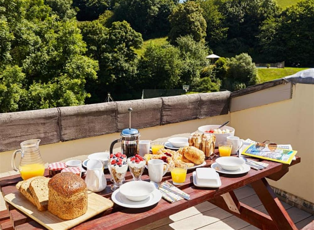 Terrace with outstanding views of the surrounding area at Haytor Cottage,