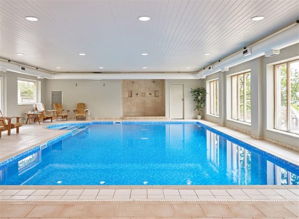 Large indoor heated swimming pool at Meavy Cottage,