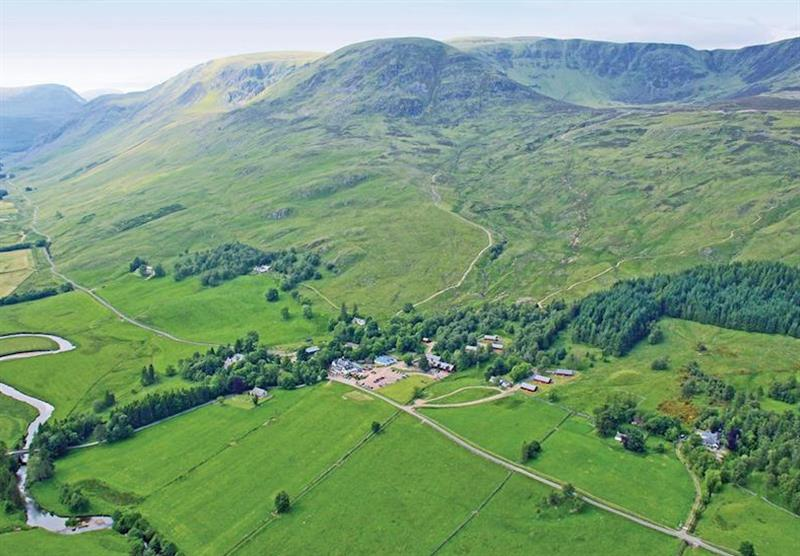 Aerial park view at Glen Clova Lodges in Nr Kirriemuir, Southern Highlands
