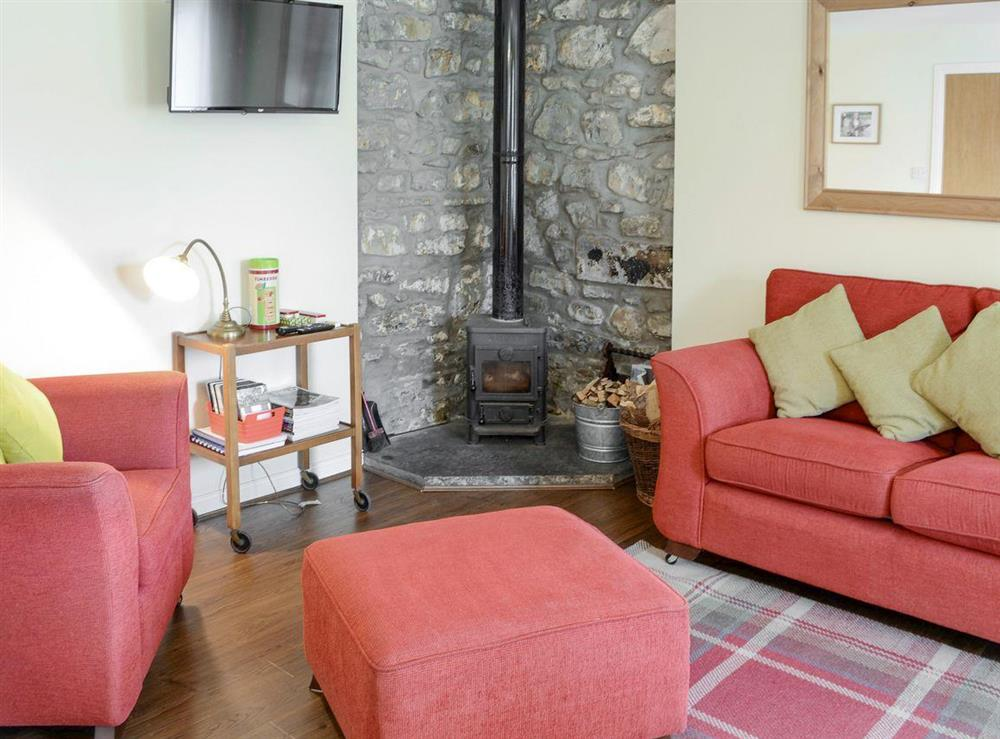 Warm and welcoming living area with wood burner at Birch Cottage,