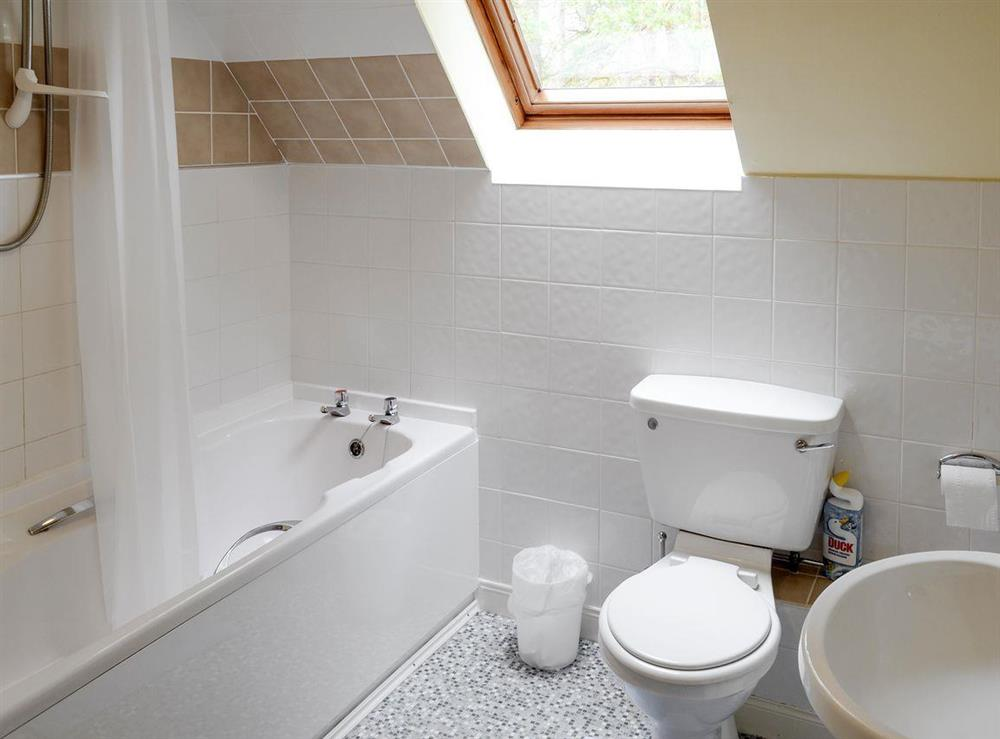 Family bathroom with shower over bath at Rowan Cottage,