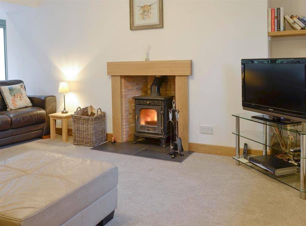 Spacious living room with wood-burner at Glenside Cottage in Cairnie, Glen of Coachford, near Keith, Aberdeenshire