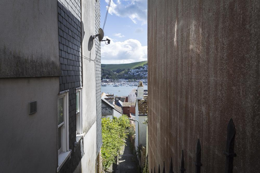 River views from the double bedroom at Gooder House in , Dartmouth