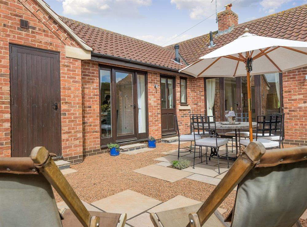 Outdoor living space at Grange Croft in Wymondham, near Oakham, Leicestershire, Norfolk