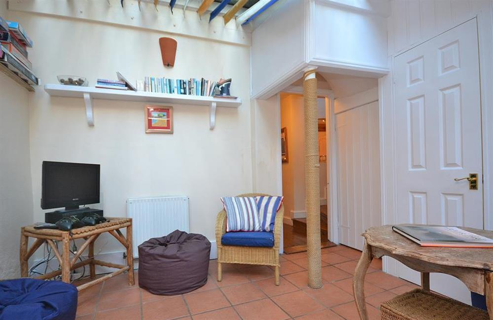 The conservatory with beanbags, TV and X-Box at Grants Cottage, Dartmouth