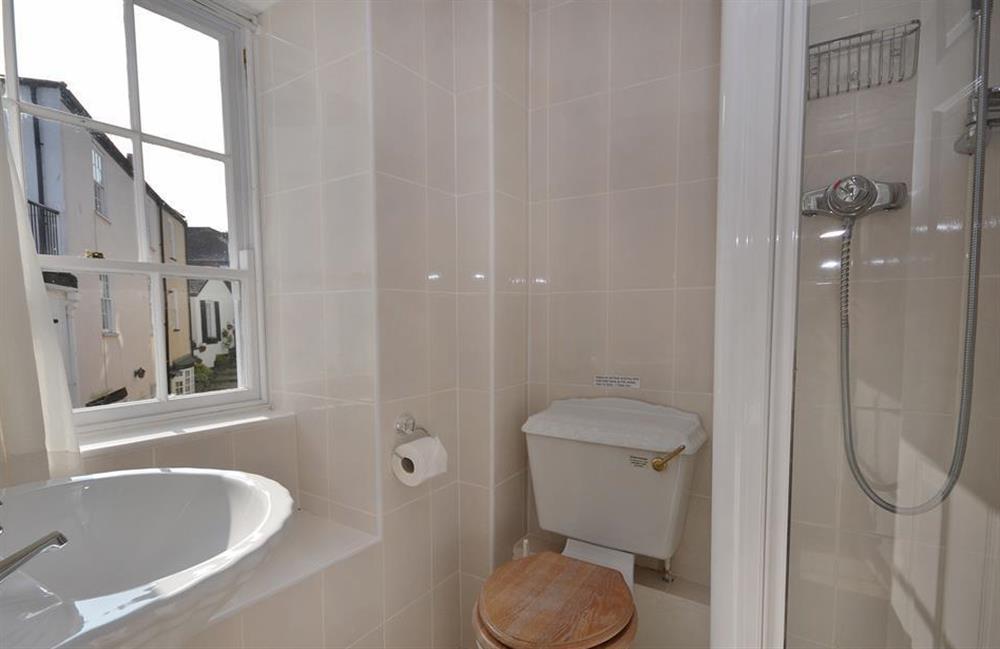 The master en suite shower room at Grants Cottage, Dartmouth