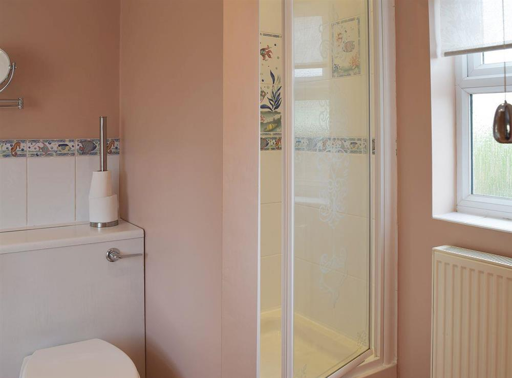 The en-suite bathroom has a separate shower cubicle at Grebe Cottage in West Somerton, near Winterton-on-Sea, Norfolk, England