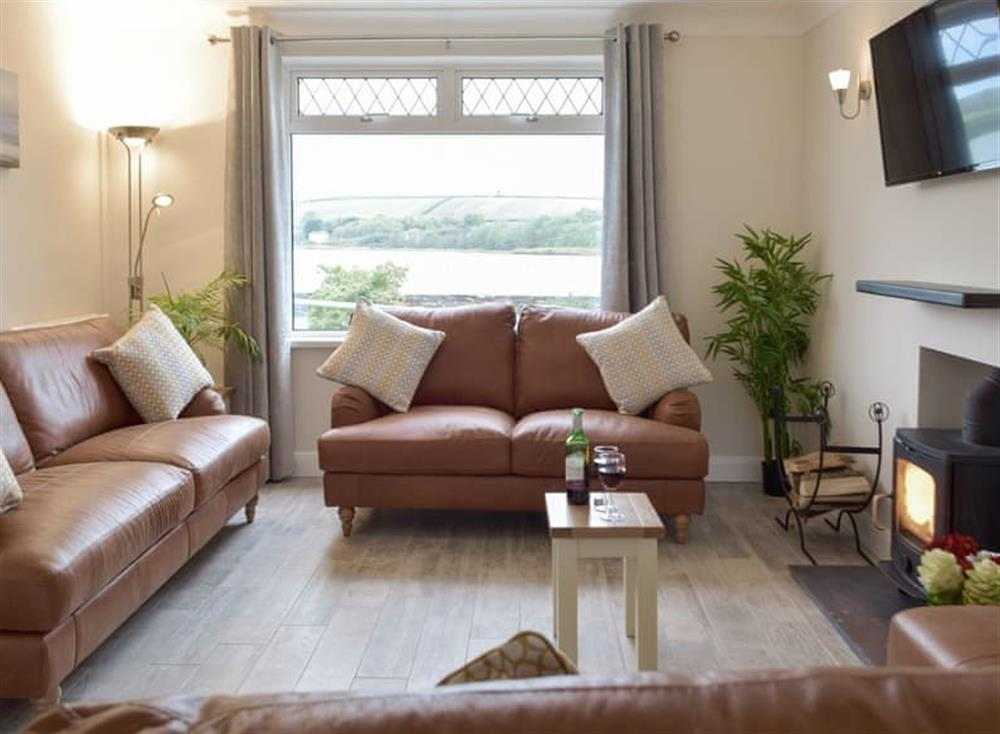 Welcoming living room with wood burner at Green Acres in St Dogmaels, near Cardigan, Cardigan, Dyfed