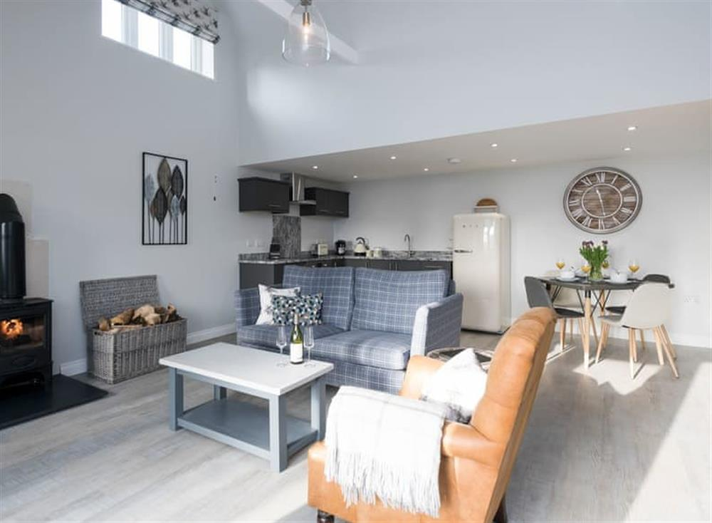 Open plan living space at The Cowshed,