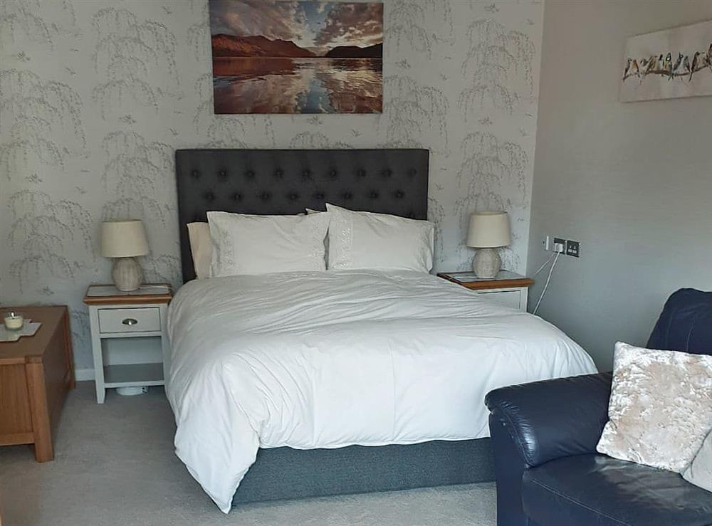 Comfortable bedroom area in living room at Green View in Churston Ferrers, near Brixham, Devon
