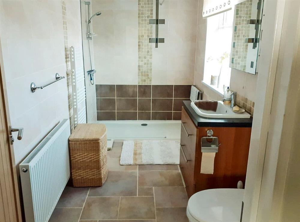 Modern shower room at Green View in Churston Ferrers, near Brixham, Devon