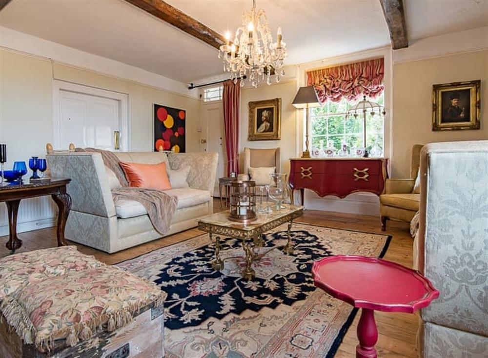 Exposed wood beams within the sitting room