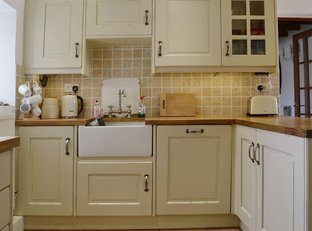 The Shaker style kitchen complements the rest of the decor beautifully at Half Penny Cottage in Docking, near Hunstanton, Norfolk