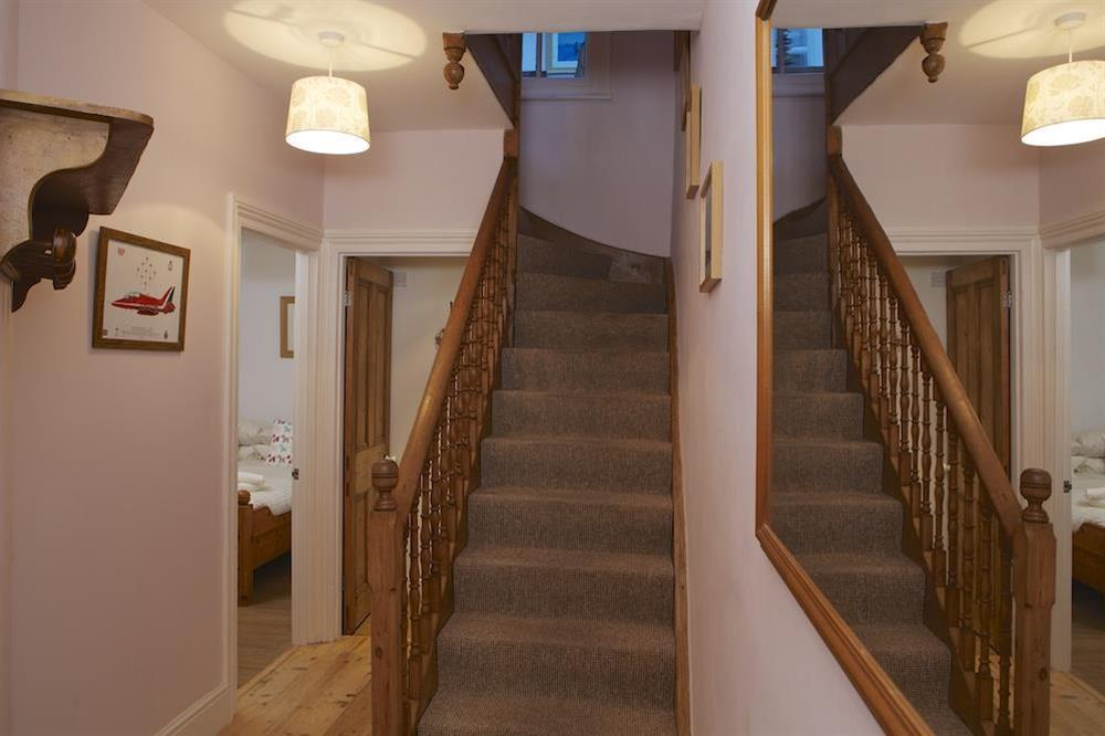 Downstairs leads to the two double rooms at Harbour Heights in , Dartmouth