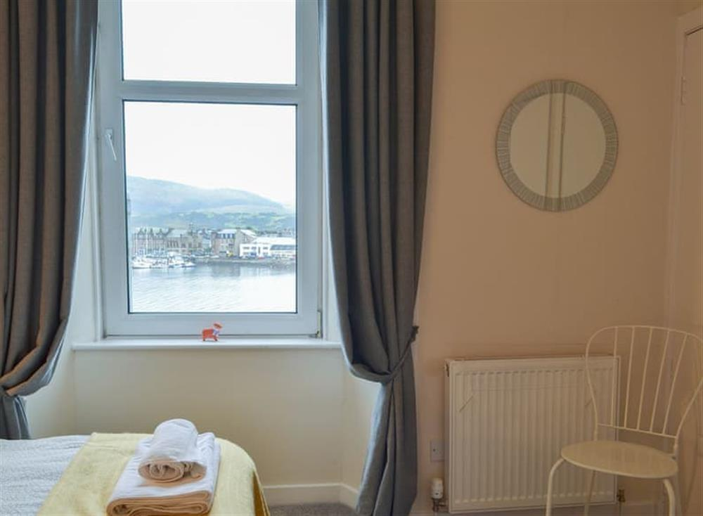 Twin bedded room with a lovely view of the harbour