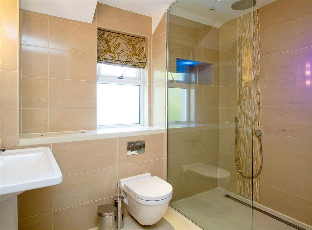 Shower room at Harbour View in Maidens, Ayrshire., Great Britain