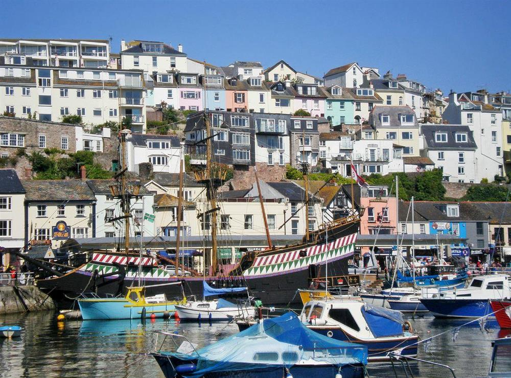View of the property from across the harbour at Harbour Watch in Brixham, Devon
