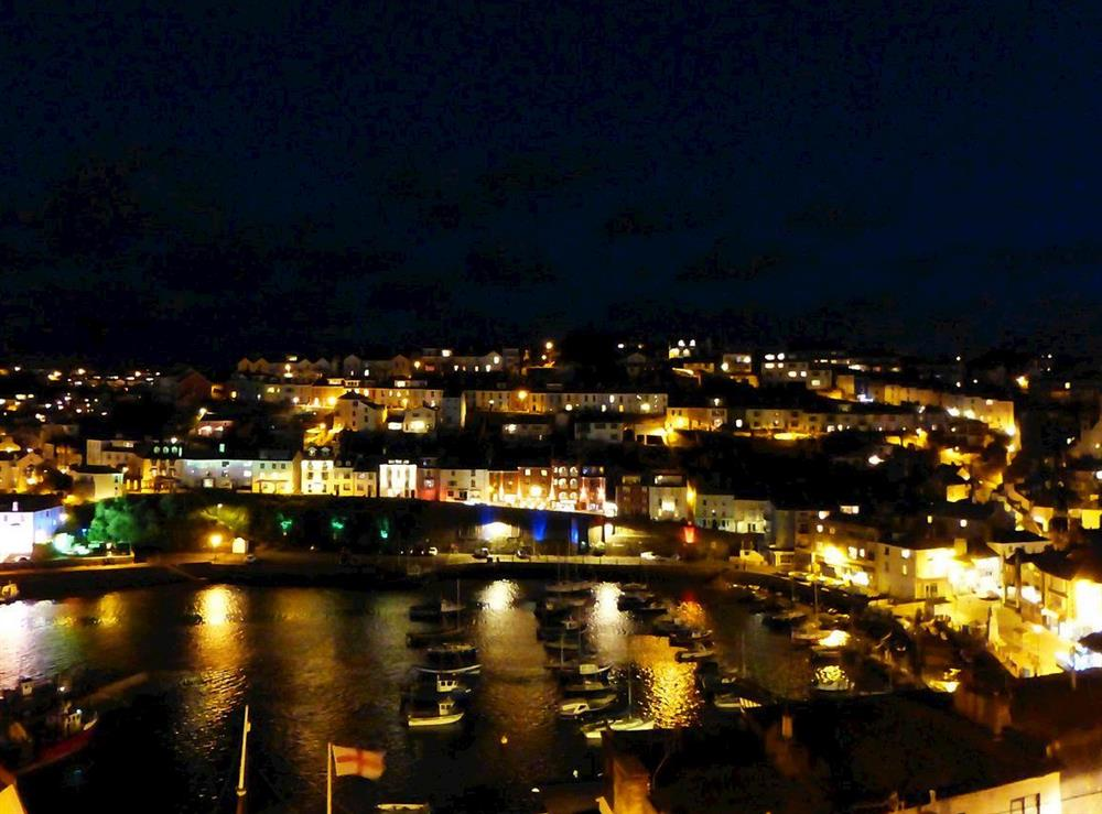 Wonderful views from property at night at Harbour Watch in Brixham, Devon