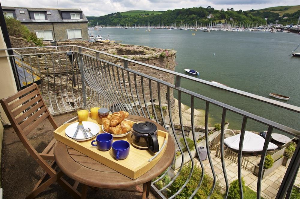Balcony with seating and views over the River Dart at Harbourside in South Town, Dartmouth