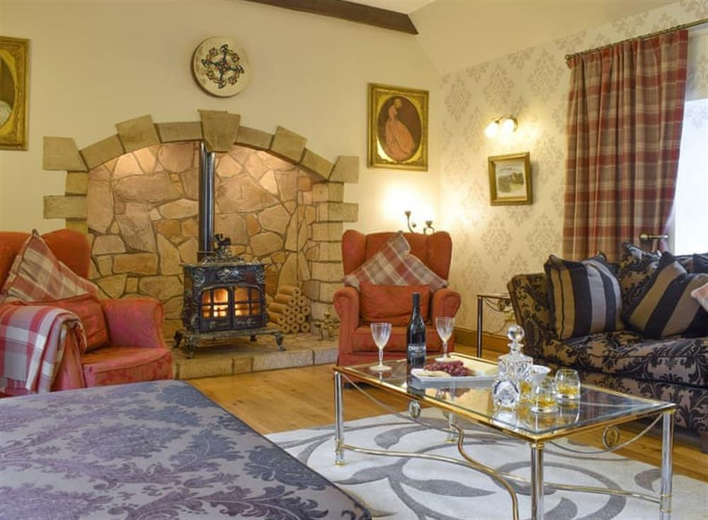 Inviting living room with wood burner at Hardilands Farmhouse in Bothkennar, near Falkirk, Stirlingshire