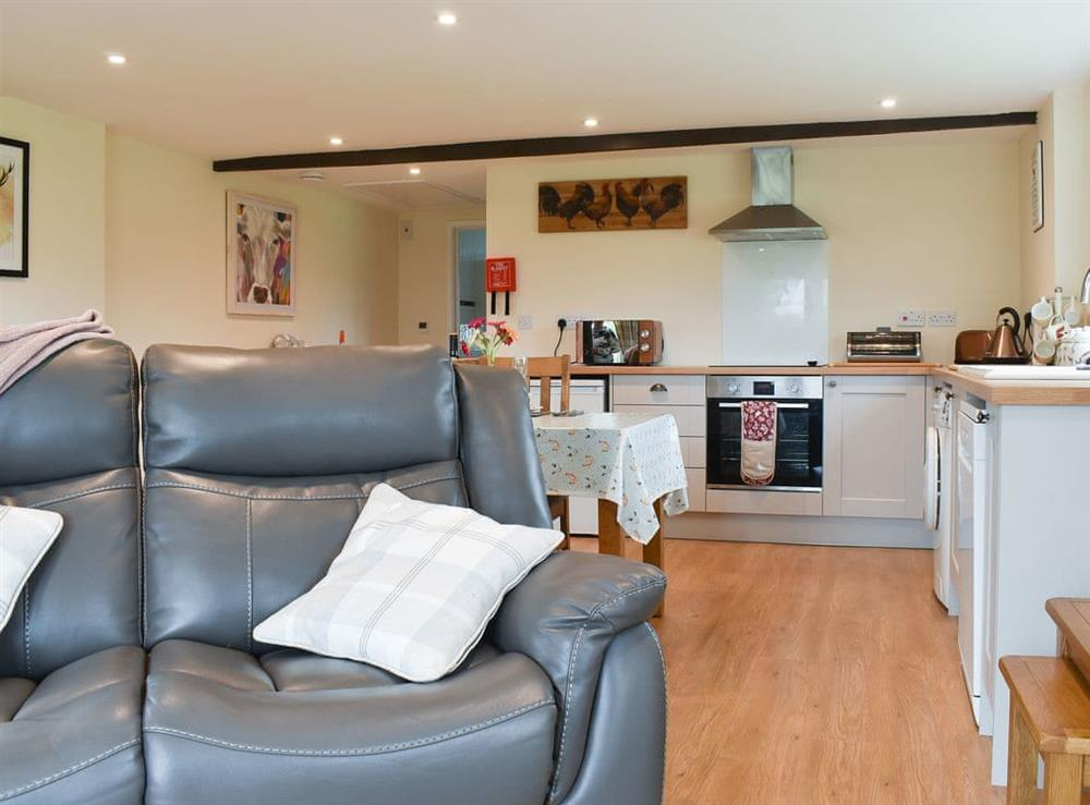 Open plan living space at Hayleaze Farm Holiday Cottage in Malmesbury, Wiltshire