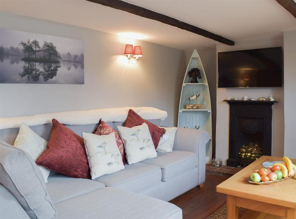 Cosy and inviting living room with quirky decor at Heathcote Cottage in Hickling, near Wroxham, Norfolk