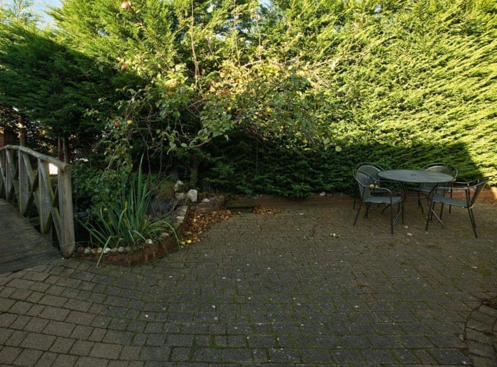 Sitting-out-area at Heron in Wayford Bridge, near Stalham, Norfolk
