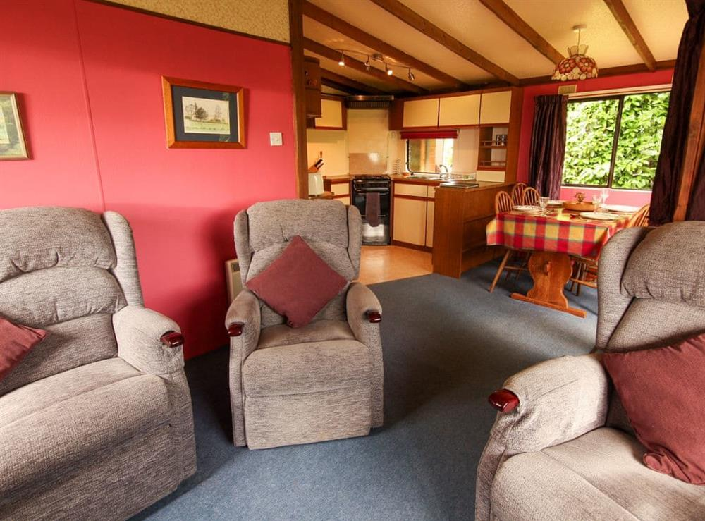 Open plan living space at Rowentree Chalet,