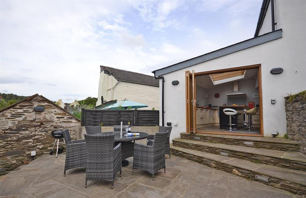 The terrace and bi fold doors into the kitchen diner at Hideaway, Harbertonford