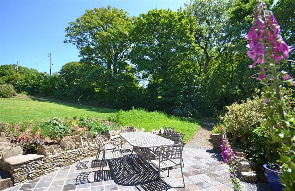 Lovely views over the beautiful country gardens at Higher Cotterbury Cottage, Blackawton