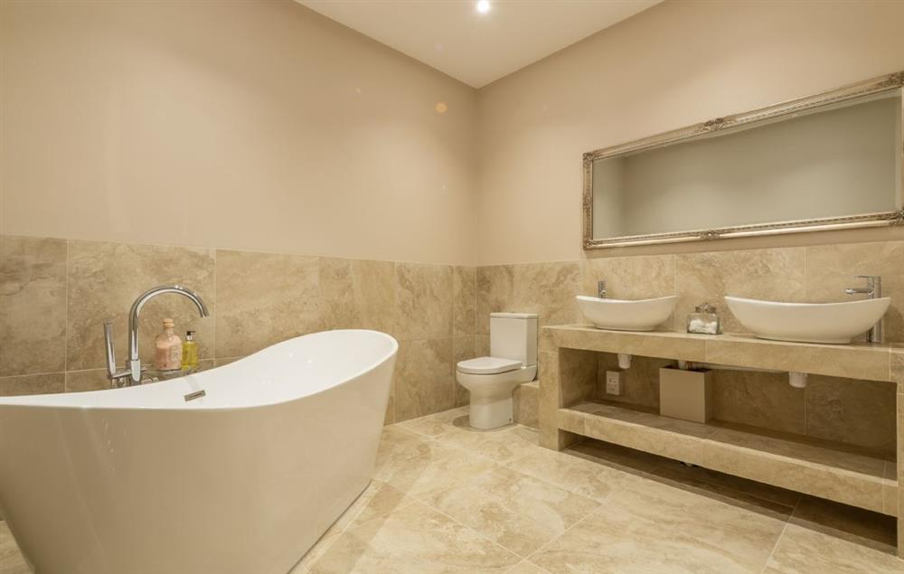Red Stage Lodge ground floor: Master en-suite with double ended slipper bath, luxury shower, double basins, WC and heated hand rail