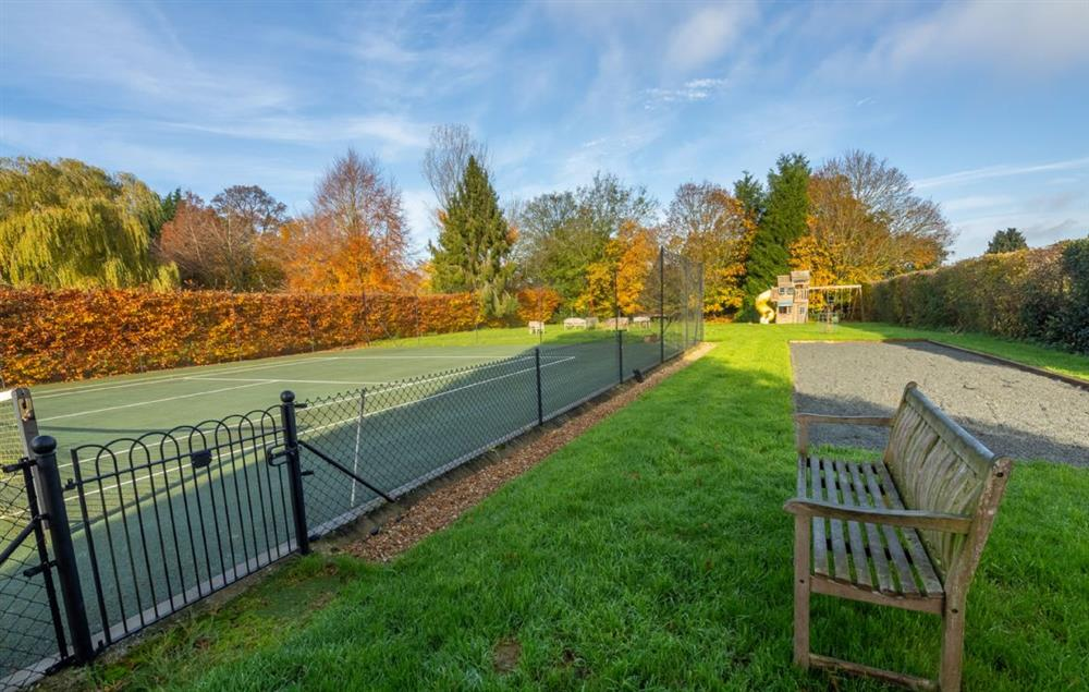 Tarmac tennis and petanque courts