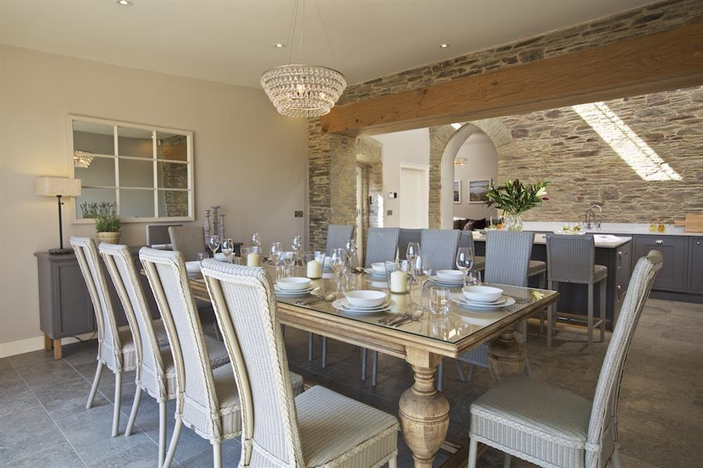 Dining area seating ten comfortably at Hillfield Farmhouse in , Hillfield, Dartmouth